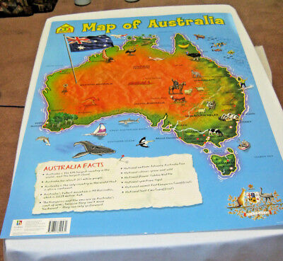 Map of Australia Kids educational laminated States and capitals