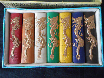 Vintage Chinese Calligraphy Ink Stick Set Of 7
