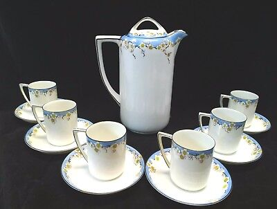Vtg Nippon Hand painted Morimura Br Chocolate Tea Pot Set 6 cups saucers 14 pcs