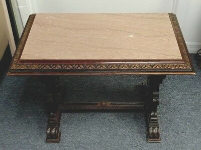 """Antique Carved Wood Walnut Rose Marble Top Side Lamp Table 28"""" W X 21"""" D X 17"""" H"""
