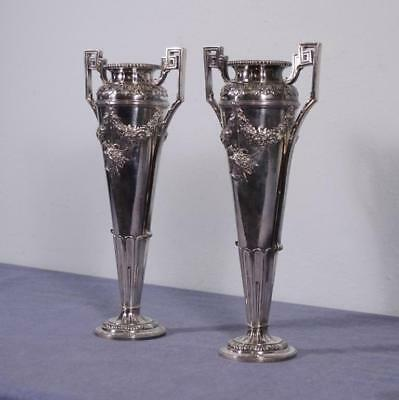 Pair of French Antique Louis XVI Silver Plated Urns by Minerva, Paris