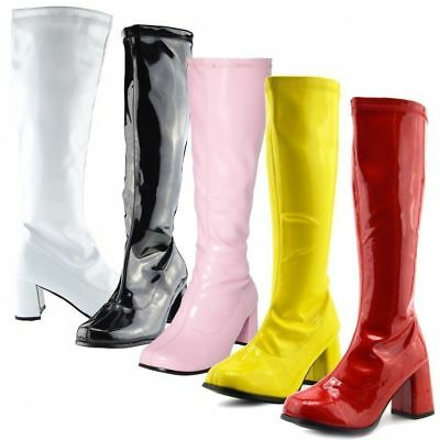 WOMENS LADIES FANCY DRESS 60s 70s PLATFORM RETRO GOGO BOOTS KNEE HIGH SHOES NEW