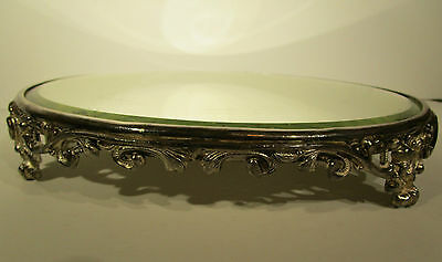 Antique Victorian Beveled Leaded Glass Mirror Footed Vanity Tray Perfume 12""