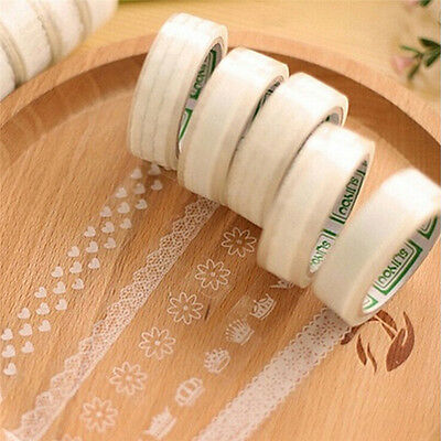 5pcs White DIY Washi Paper Lace Decorative Sticky Sticker Paper Masking Tape FT