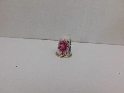 Vintage Fine Bone China Thimble with Pink Flowers Floral Design Gold Trim