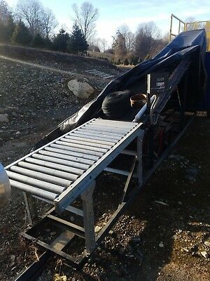 Incline Belt Conveyor 16' long w Variable Speed Control, Roller Table, Portable