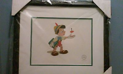 "NEW! Disney Art framed - Sericel - Pinocchio ""Here's Your Apple""  LE with C.A"