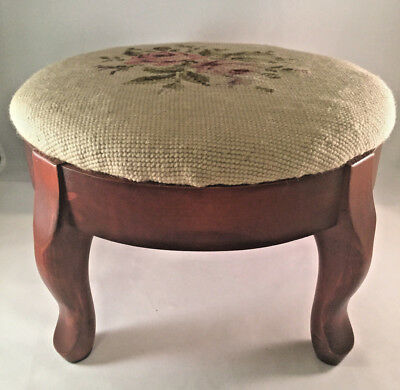 Vintage Round Wood Footstool With Pink Roses Needlepoint Top