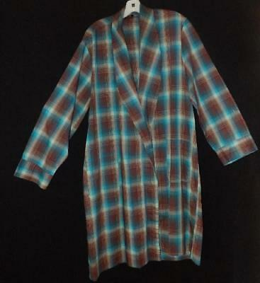 RETRO VTG 50s 60s MAD MEN COTTON SMOKING LOUNGE PLAID SHADOW ROBE JACKET L XL