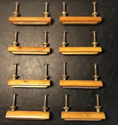 LOT of 8 VINTAGE BUTTERSCOTCH BAKELITE & BRASS DRAWER PULLS CABINET PULLS