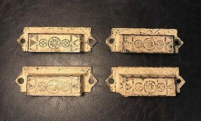 Lot of 4 Old Vintage Antique Eastlake Ornate Drawer Cabinet Bin Pulls