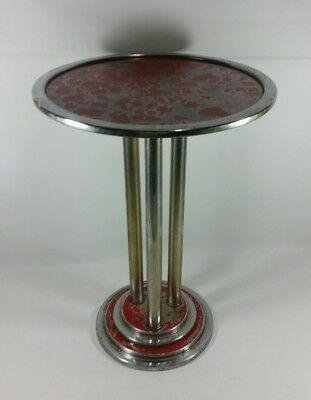 Vintage Chrome & Glass Top Tier End Table Night Stand - Art Deco Style Pillars