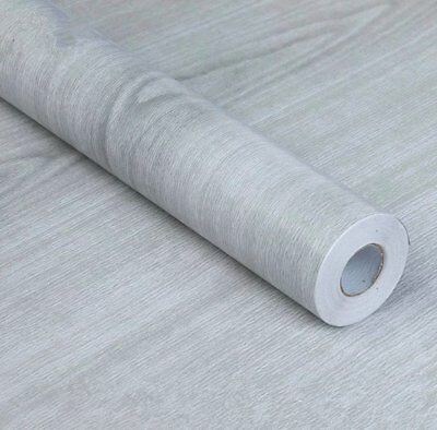 BESTERY Self-adhesive PVC Contact Paper Light Gray Wood Grain Counter Paper X