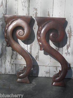 Pair MASSIVE Old FRENCH Carved Wood Piano CORBELS Cabinet SUPPORTS Shelf PILARS