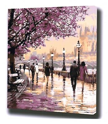 CHERRY BLOSSOM WALK PAINT BY NUMBERS CANVAS PAINTING KIT 20 x 16 ins FRAMELESS