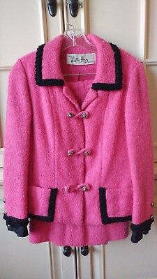 Vintage Lilli Ann Paris- Jackie Kennedy looking- Hot Pink and Black Skirt Suit