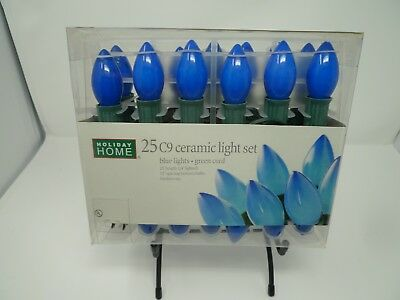 Blue Ceramic Christmas Lights C9 Holiday Wedding green cord Lot of 9 boxes -