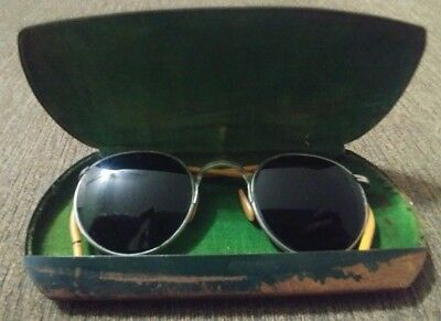Vintage Bausch & Lomb Tinted Ful Vue Safety Glasses with Metal Case & Cloth Rare