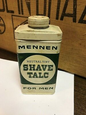 VINTAGE MENNEN NEUTRAL TINT SHAVE TALC FOR MEN TIN, 4oz