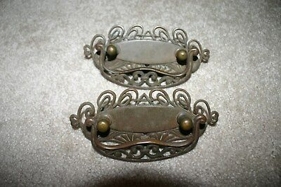 Antique Victorian Lot 2 Brass Dresser Cabinet Drawer Pulls Handle Ornate Hardwar