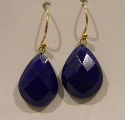 14K Solid Yellow Gold Beautiful hand made BLUE LAPIS LAZULI JEWELRY Earrings