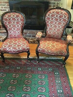Set Of 2 Antique Victorian Parlor Chairs