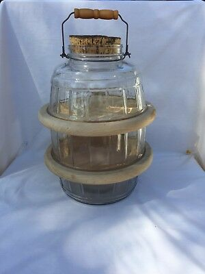 Large Modified clear glass pickle jar w/ cork lid and wire bale handle