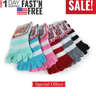 6 Pair Soft Striped Toe Socks Ladies Women Girls Socks Fun Color Style Size 9-11