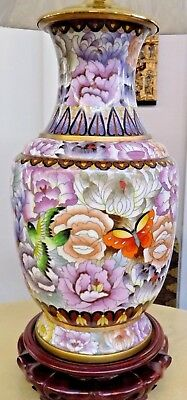 "Pair Of 32"" Vintage Chinese Cloisonne Lamps Very Nice! Collector Quality Vases"