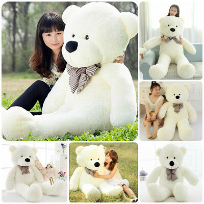 "Big Cute Teddy Bear Giant 47"" Stuffed Animal Plush Toy Soft Birthday Gift White"