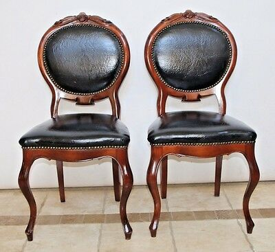 Vintage Set of French Provincial Style Carved Wood Black Leather Accent Chair
