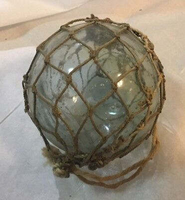 Antique Vintage Sea Glass Float Ball Orb Ocean Netted Roped Blue Hue