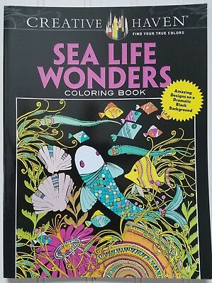 Sea Life Wonders Coloring Book Creative Haven Dover Art Black Background