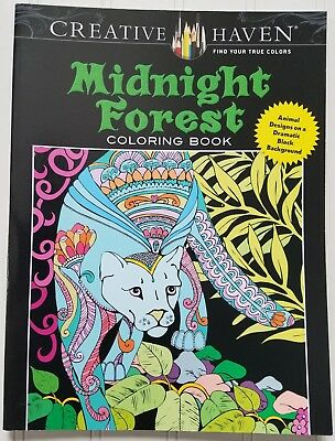 Midnight Forest Coloring Book Creative Haven Dover Art Black Background
