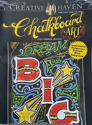 Chalkboard Art Coloring Book Creative Haven Dover Black Background