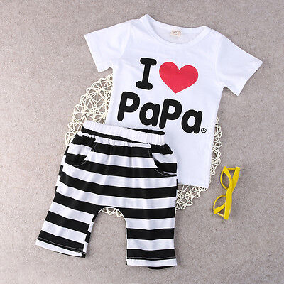 Cottotn Baby Boy Girl love PaPa Mama T-shirt + Shorts 2pcs Outfits Clothes Set