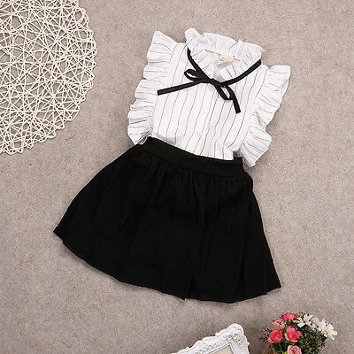 2PCS Set Girls Dress Kids Baby Toddler Tops+Skirt Shorts Outfits Clothes 2-7Y