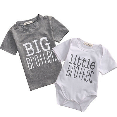 Newborn Baby Boy Romper Bodysuit / Big Brother Kids T-shirt Matching Clothes US