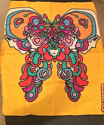 Vintage Peter Max Butterfly Scarf Psychedelic Faces,yellow multicolor