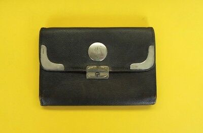 Vintage Antique Leather Wallet With Sterliing Silver Clasp &  Decorations