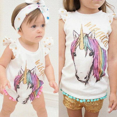 Matching Unicorn Tops Newborn Baby Romper Kids Girl Vest T-shirt Clothes Outfit
