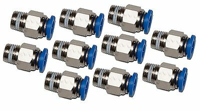 "10 Pieces pneumatic 1/4"" Tube x 1/8"" NPT Male Connector Push to Connect fitting"
