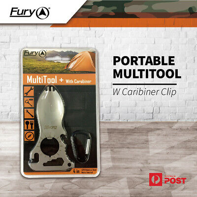 New Fury Portable Multitool w Caribiner Clip Stainless Steel Camping Hunting Kit
