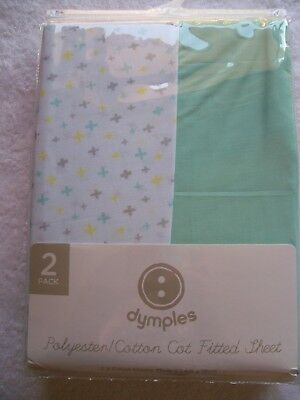 BNIP Baby's Unisex 2 Pack Polycotton Cot Fitted Sheet