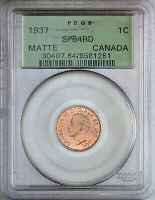 1937 Canadian 1 Cent ICCS / PCGS  SP-64 , Red,  Rotated Die