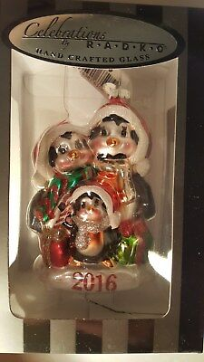 Christopher Radko Penguin Family Gift Christmas Ornament 2016