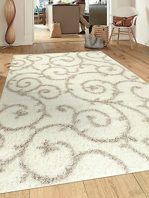 "Rugshop Cozy Contemporary Scroll Indoor Shag Area Rug, 5'3"" x 7'3"", Cream/White"