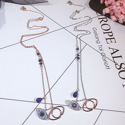 Women's Gold Plated Blue Evil Eye Crystal Pendant Chain Necklace  Jewelry Gift