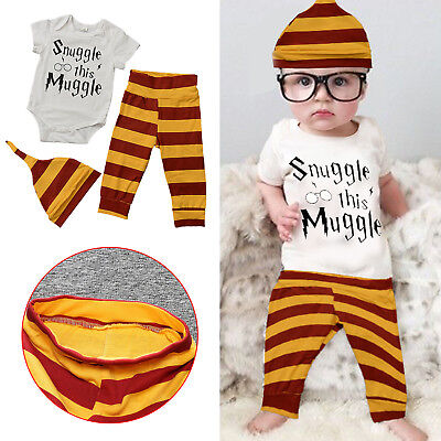 Snuggle This Muggle Newborn Baby Boys Clothes Baby Grows Pants Hat 3PCS Outfits