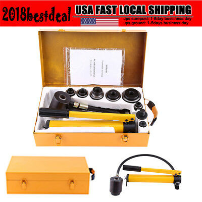 10 Ton Manual Hydraulic Round Hole Punch Opener Kit Hand Tool with 6 Dies US